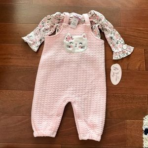 Baby Girl Kitty Cat Overall and Onesie Set